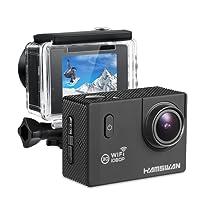 【Thanksgiving sale】HAMSWAN F60 Action Camera Impermeabile WiFi 1080P Obbiettivo Grandangolare a 170 Gradi Schermo da 2 Pollici Funzione Dashboard Cam per Surf sci, nuoto e altri sport fuori