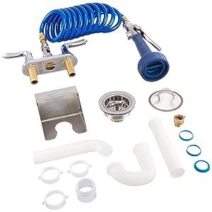 T&S Brass PJ-108H-CH01 Pet Market Hi-Flow Jet Spray, Fi-Fi Coiled Hose, Garden Female Inlet Adapter