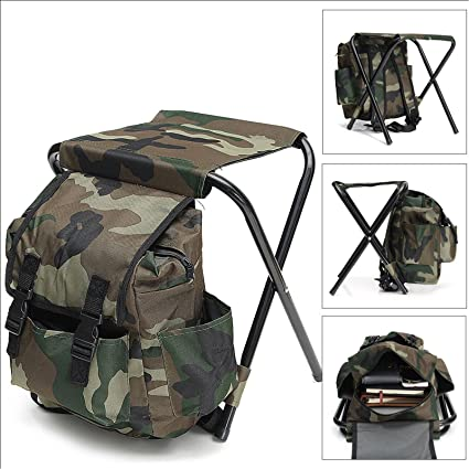 2 in1 Fishing Chair Backpack Tackle Multi-Function Bag Outdoor Camping Hiking Fold able Stool Kit