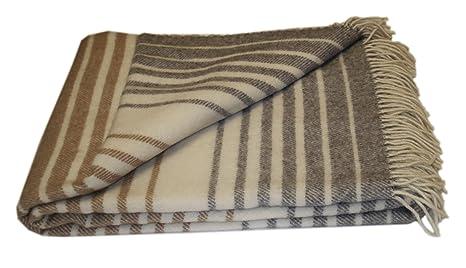 Beige Linen /& Cotton Plaid 100/% Laine de Nouvelle-Z/élande 140 x 200cm Couverture en Laine Couvre-Lit de Luxe Columbus