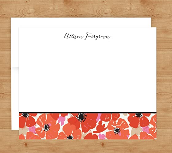 poppies flat or folded note cards personalized notecards custom stationery - Personalized Folded Note Cards