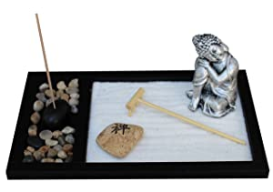 Royal Brands Zen Garden Deluxe Desk Meditation Garden - Buddha Statue, Rake-Sand-Rocks & Incense Holder with Incense - Peace & Tranquility