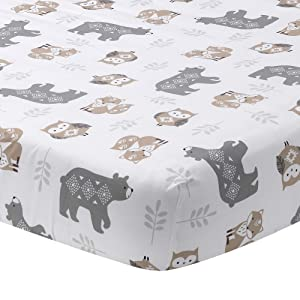 Lambs & Ivy Woodland Forest White/Gray Animal 100% Cotton Baby Fitted Crib Sheet
