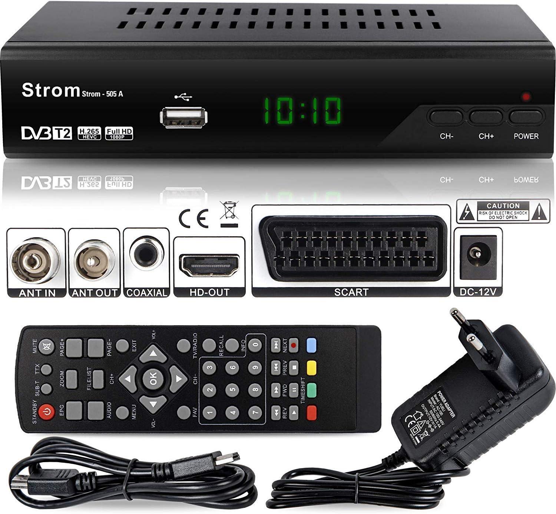 Hd Line Strom 505 A Dvbt 2 Receiver Full Hd 1080p 4k Hevc H 265 Hdmi Scart Usb 2 0 Dvbt2 Receiver Dvb T2 Receiver Dvb T2 Reciver Hd Receiver Tv Receiver Dvbt 2 Resiver Empfänger Schwarz