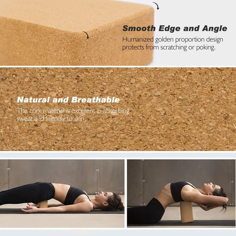 Meditation Pilates XIAOCAI Yoga Block Cork Yoga Brick Cork Yoga Exercise Natural Block Non-Slip Eco Yoga Block to Support and Deepen Poses for Yoga 9 x 6 x 3Inch
