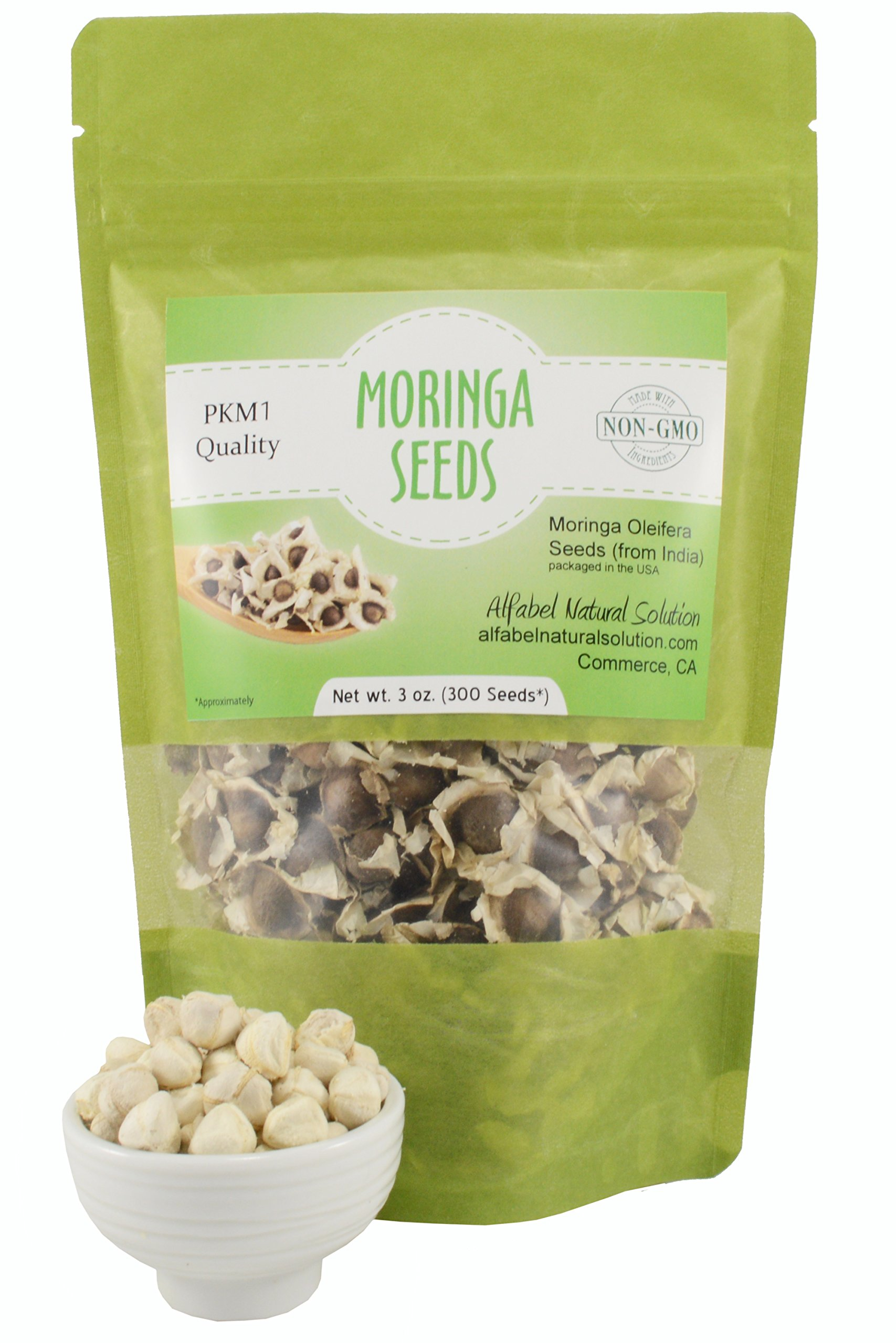 Moringa Oleifera Seeds Non-GMO PKM1 Premium Quality - Organically Grown - 3 oz. (300 Seeds Approximately) Resealable Stand Up Pouch by Alfabel Natural Solution