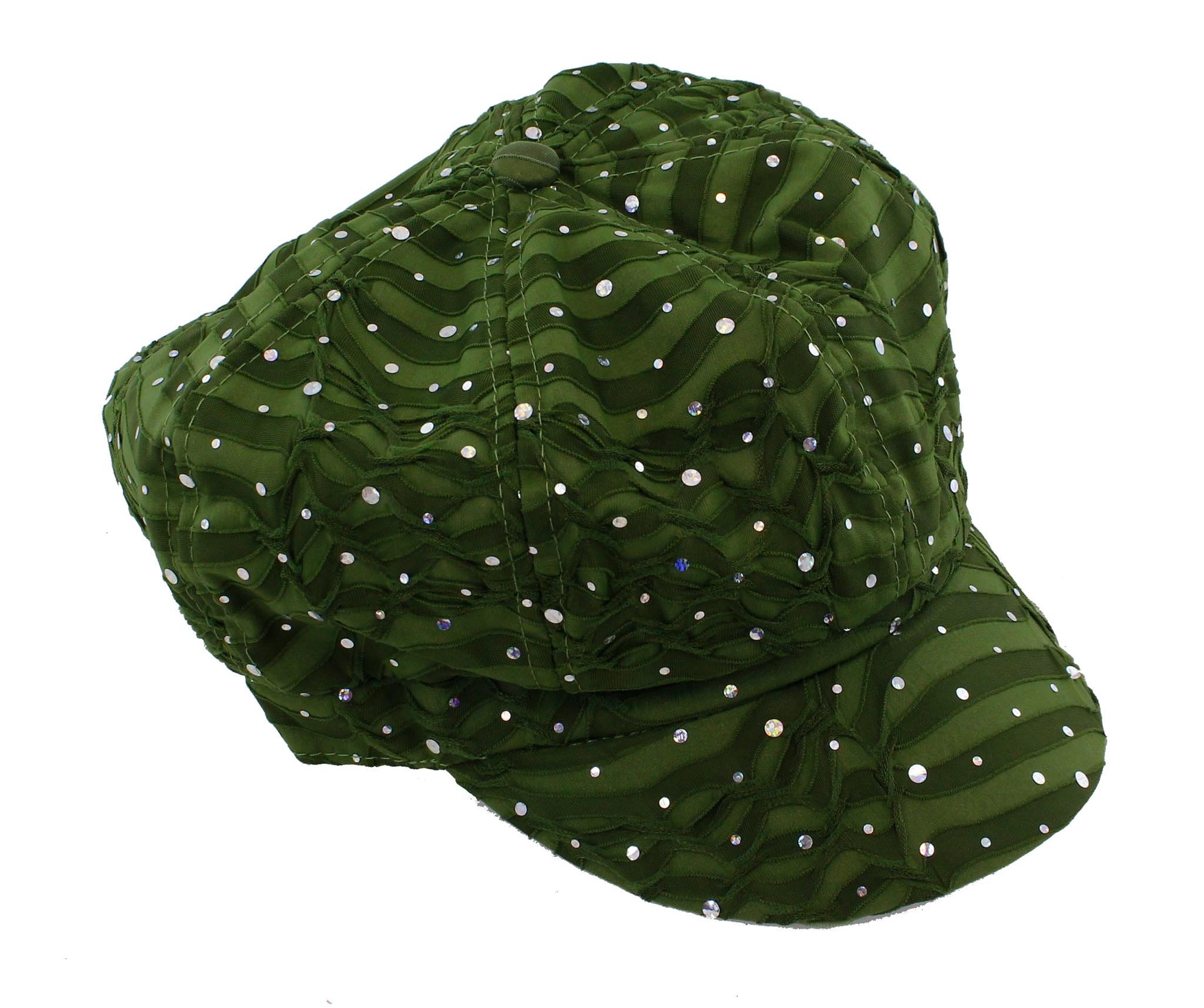 Glitter Sequin Trim Newsboy Style Relaxed Fit Cap, Olive Green by Greatlookz Fashion (Image #2)