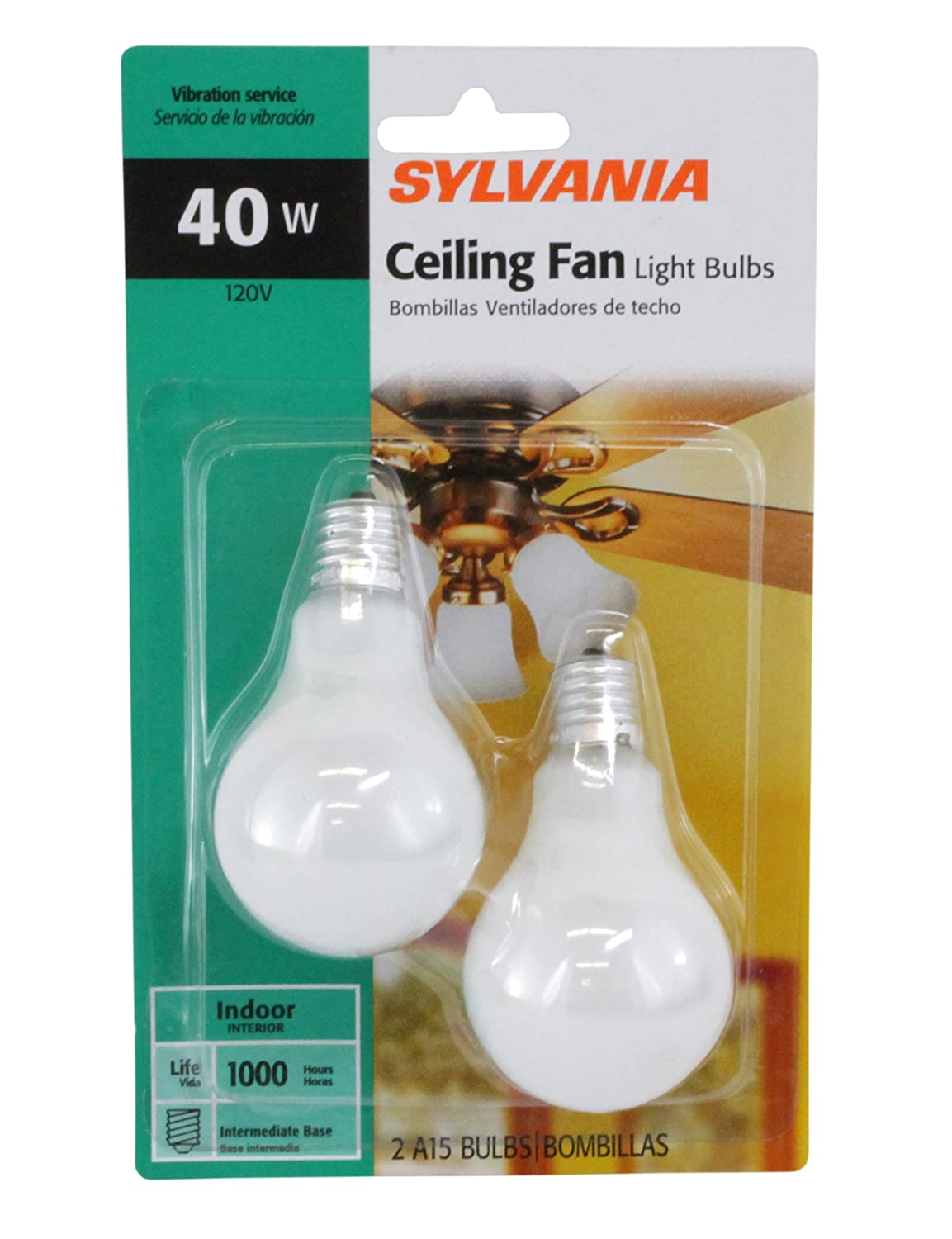 SYLVANIA 40-Watt A15 -Clear- Ceiling Fan Bulbs - Intermdiate Base 2-Pack X22076 - Decor Bulbs - Amazon.com