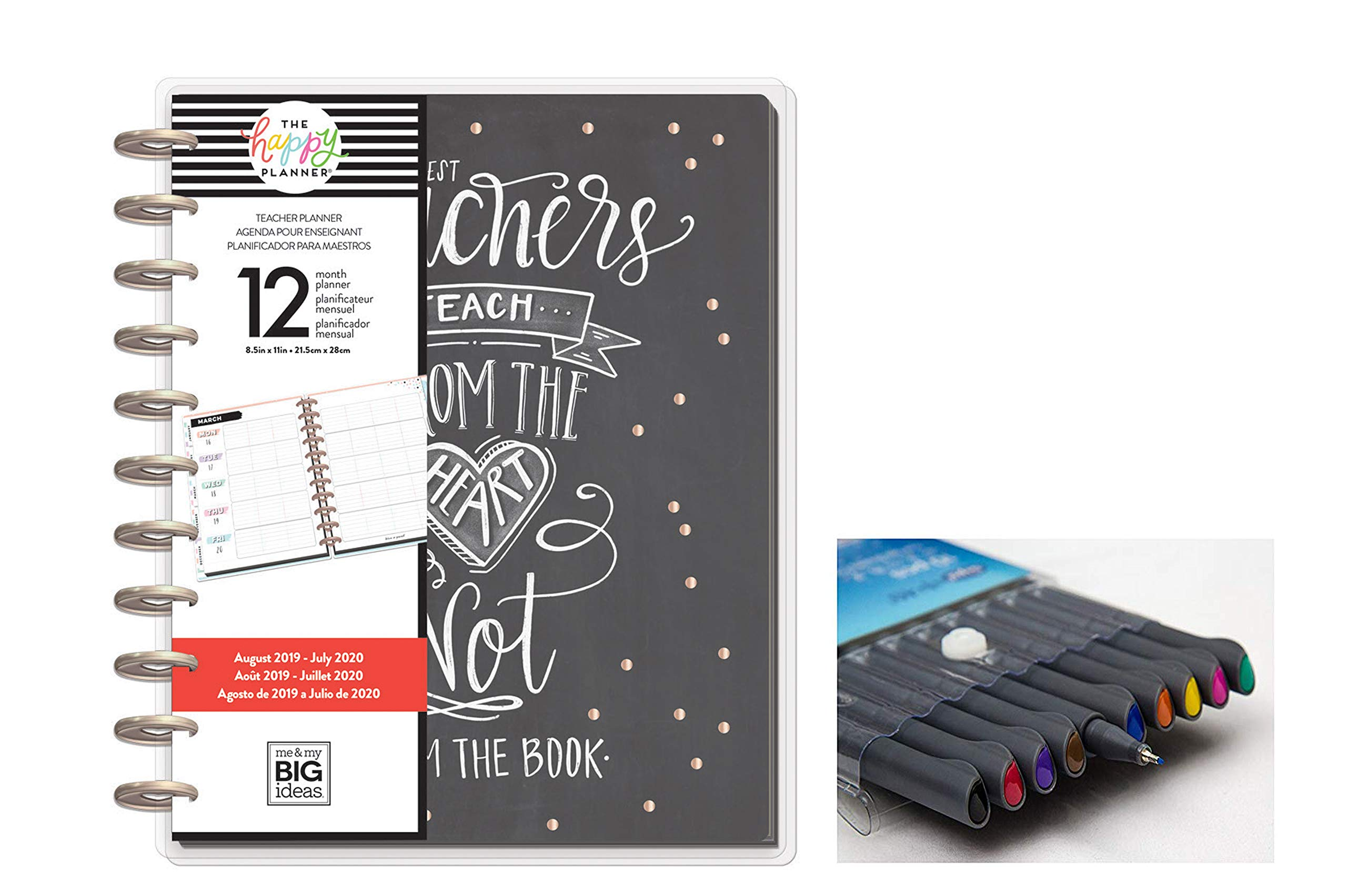 me & My Big Ideas Create 365 The Happy Planner Big Teacher: Teach from The Heart 12 Month Planner, Aug 2019 - July 2020 Comes with Kemah Craft 10 pc Fineliner Color Pens (PLNA-26) by Me & My Big Ideas
