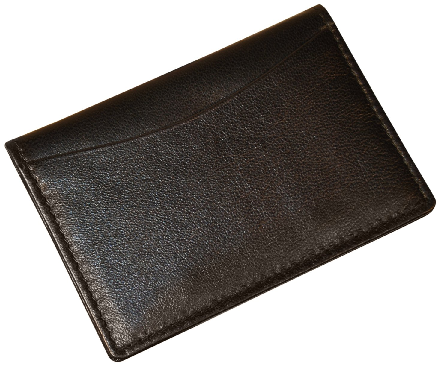 Budd Leather Soft Napa Gusseted Card Case with Window Black