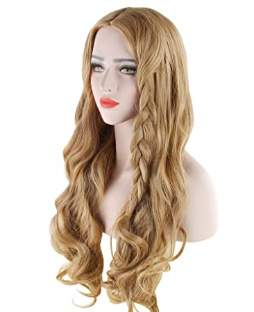 Discoball® Womens Light Blonde largo rizado peluca llena con Bang Cenicienta Fancy Cosplay Party Hair: Amazon.es: Belleza