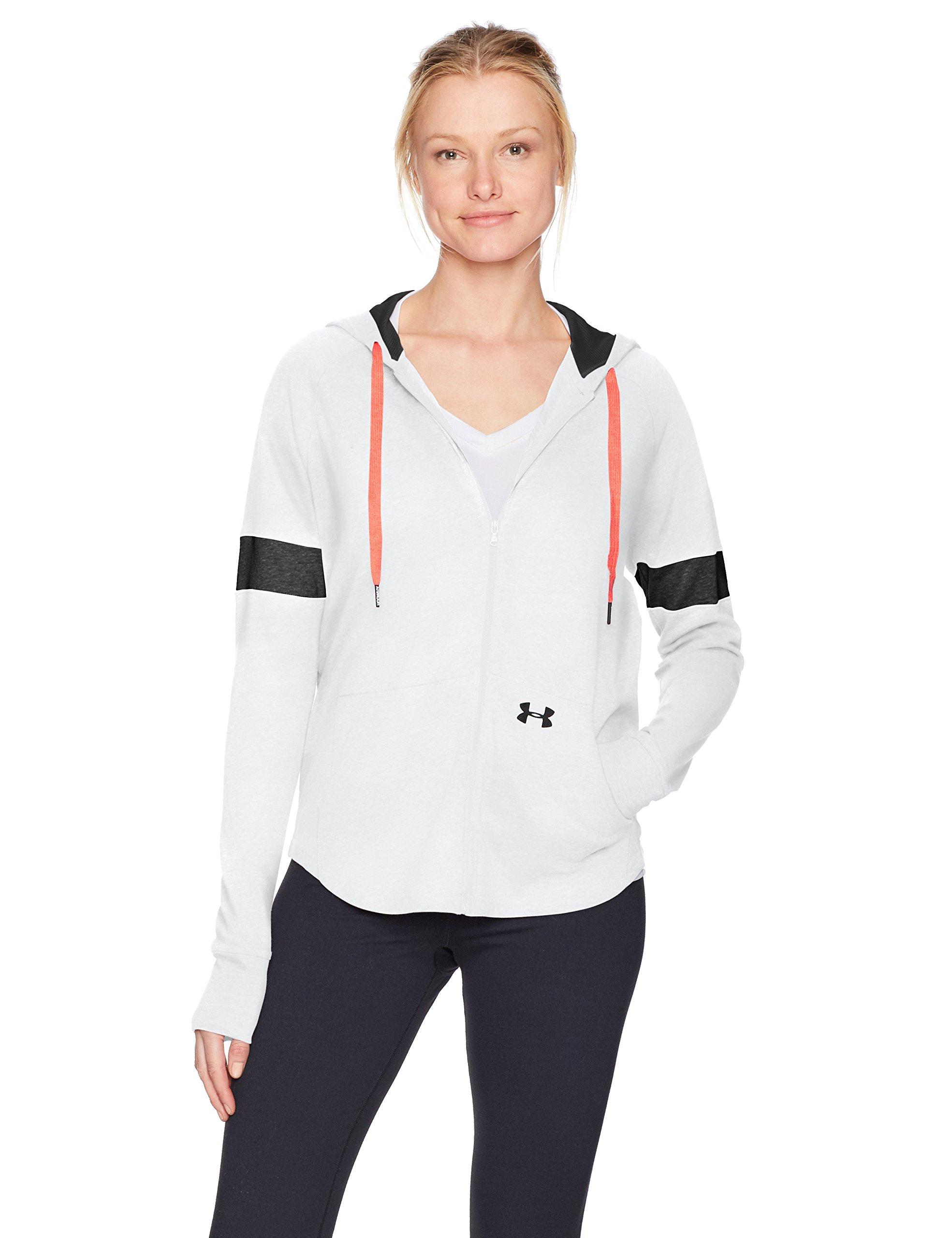 Under Armour Women's Sportstyle Full Zip Hoodie, White (100)/Black, Medium by Under Armour