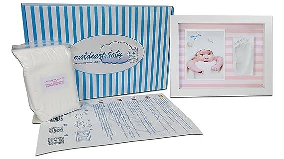 ,Marco de Fotos para Bebé,3D Marco de Huellas para Niños - Regalos para Bebé Recién Nacido Rayas Rosas: Amazon.es: Bebé