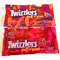 Variety 2 Pack Twizzlers Pull 'n' Peel Candy, 340g Fruit Punch, 396g of Cherry