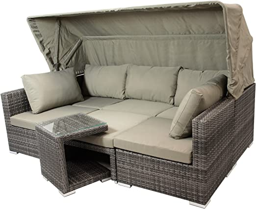 Gartenmobel-Einkauf - Manacor - Conjunto de muebles de jardín de 16 piezas, aluminio + trenzado, color gris bicolor, tapizado color topo: Amazon.es: Jardín