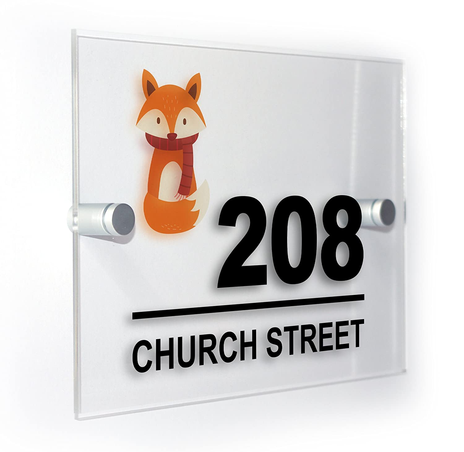 Fox Modern Style Personalised House Flat Number Plaque Full Colour Sign Outdoor Use Weatherproof Market Leading Print Premium Home Plaques