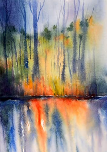 Watercolor Painting PRINT Landscape Art Modern Abstract Blue Orange Sunset