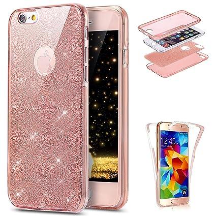 Ukayfe Funda iPhone 6/6S Plus, [360 Doble Delantera + Trasera] Suave Transparente Silicona Gel Crystal Centelleo Carcasa, Brillo Glitter Strass TPU ...