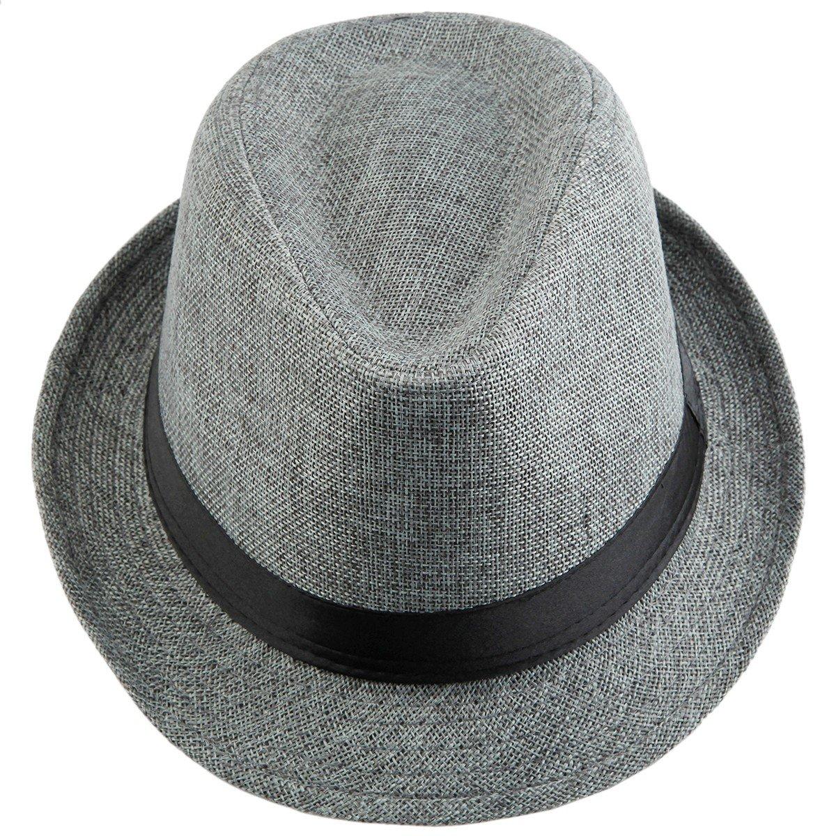 a2a52bbeecb58d Samtree Fedora Hats for Women Men,Braid Straw Short Brim Jazz Panama  Cap(01-Light Blue): Amazon.in: Clothing & Accessories