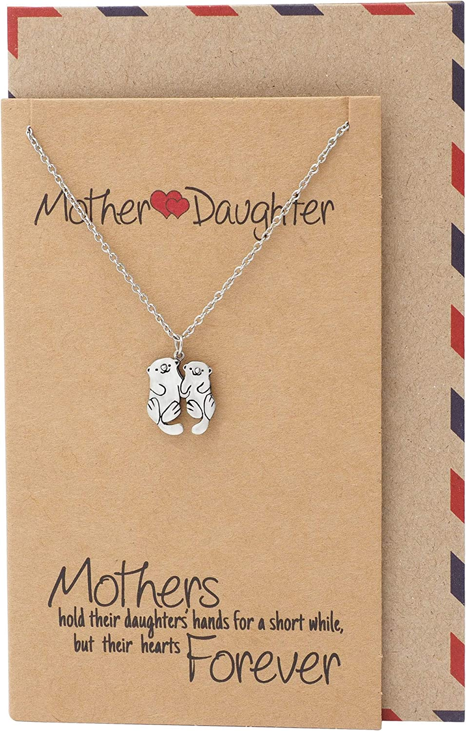 Quan Jewelry Mother and Daughter Otter Necklace, Gifts for Mom, Mother's Day, with Inspirational Quotes