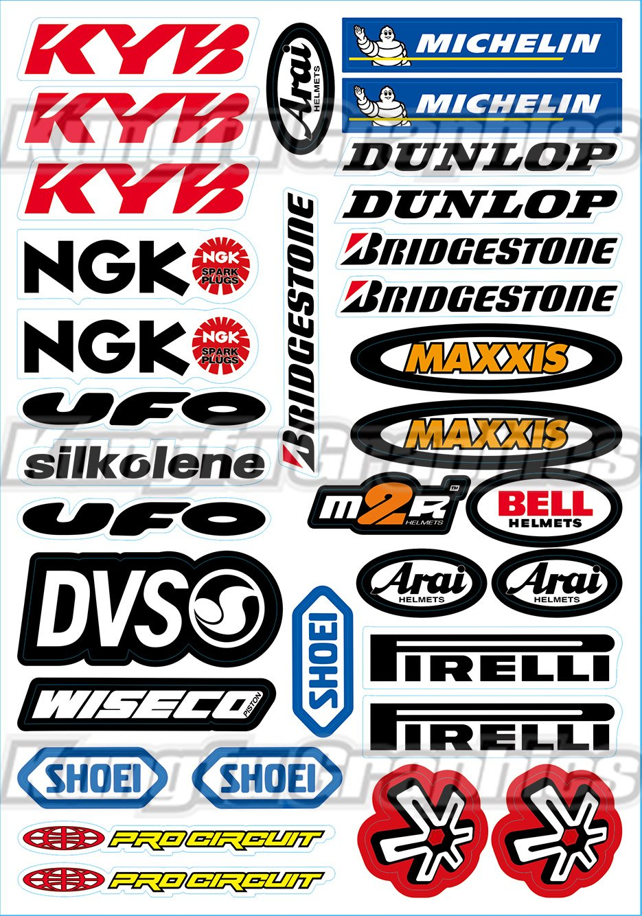 Kungfu Graphics Yamaha Sponsor Logo Racing Sticker Sheet Universal (7.2x 10.2 inch), Red
