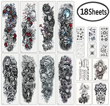 bc695851c Amazon.com : DaLin Extra Large Full Arm Temporary Tattoos and Half Arm  Tattoo Sleeves for Men Women, 18 Sheets (Collection 1) : Beauty
