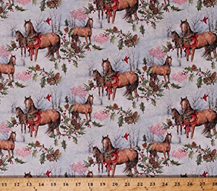 cotton christmas horses woods scene holly leaves berries pine cones cardinals holidays winter scenic cotton fabric - Christmas Horses