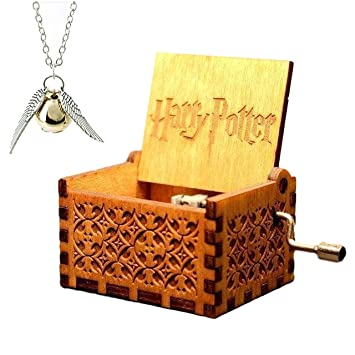 Amazon harry potter music box hedwig theme wooden music box harry potter music box hedwig theme wooden music box plus harry potter necklace as christmas gift aloadofball