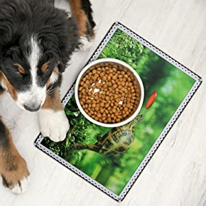 Larsic Placemats for Dog Cat – Set of 2 Place Mats Made of Washable PVC for Home – Heat Resistant Pet Food Mats with Non-Slip Backing Protect Against Stains Food Scatter