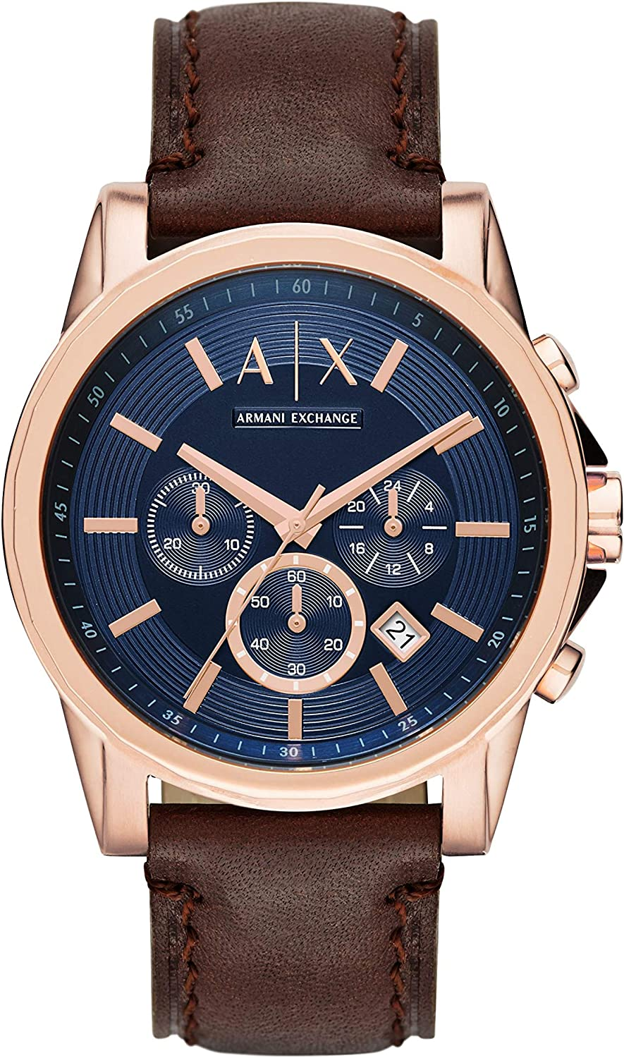 A:X Men's Brown Leather Watch AX2508