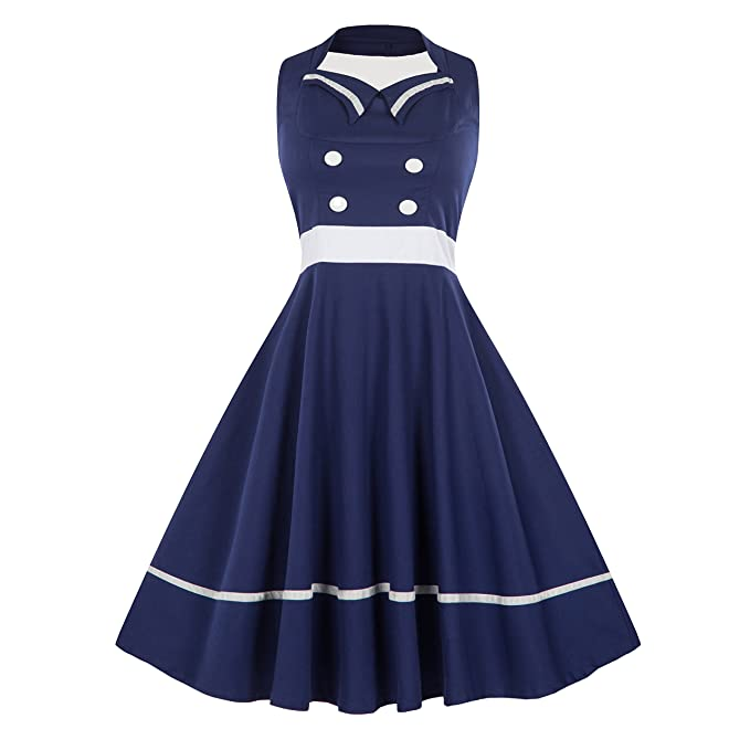 1950s Plus Size Dresses, Swing Dresses Wellwits Womens Vintage Pin Up Sailor Collar Halter Swing Dress $23.98 AT vintagedancer.com