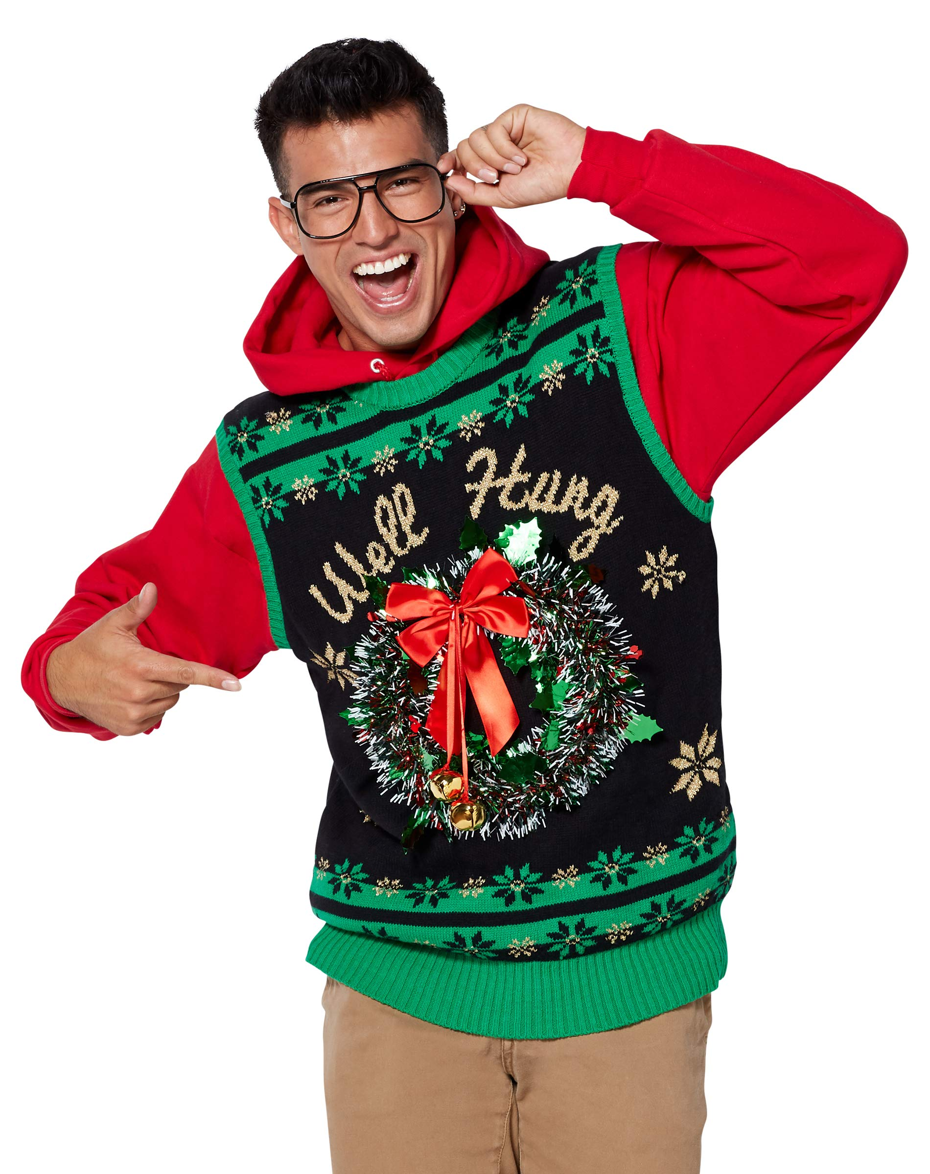 Light Up Well Hung Ugly Christmas Sweater Vest - L by Spencer Gifts