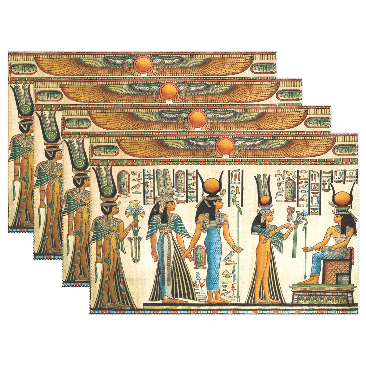 WozoレトロPapyrusエジプトプレースマットテーブルマット、ヴィンテージ古代12