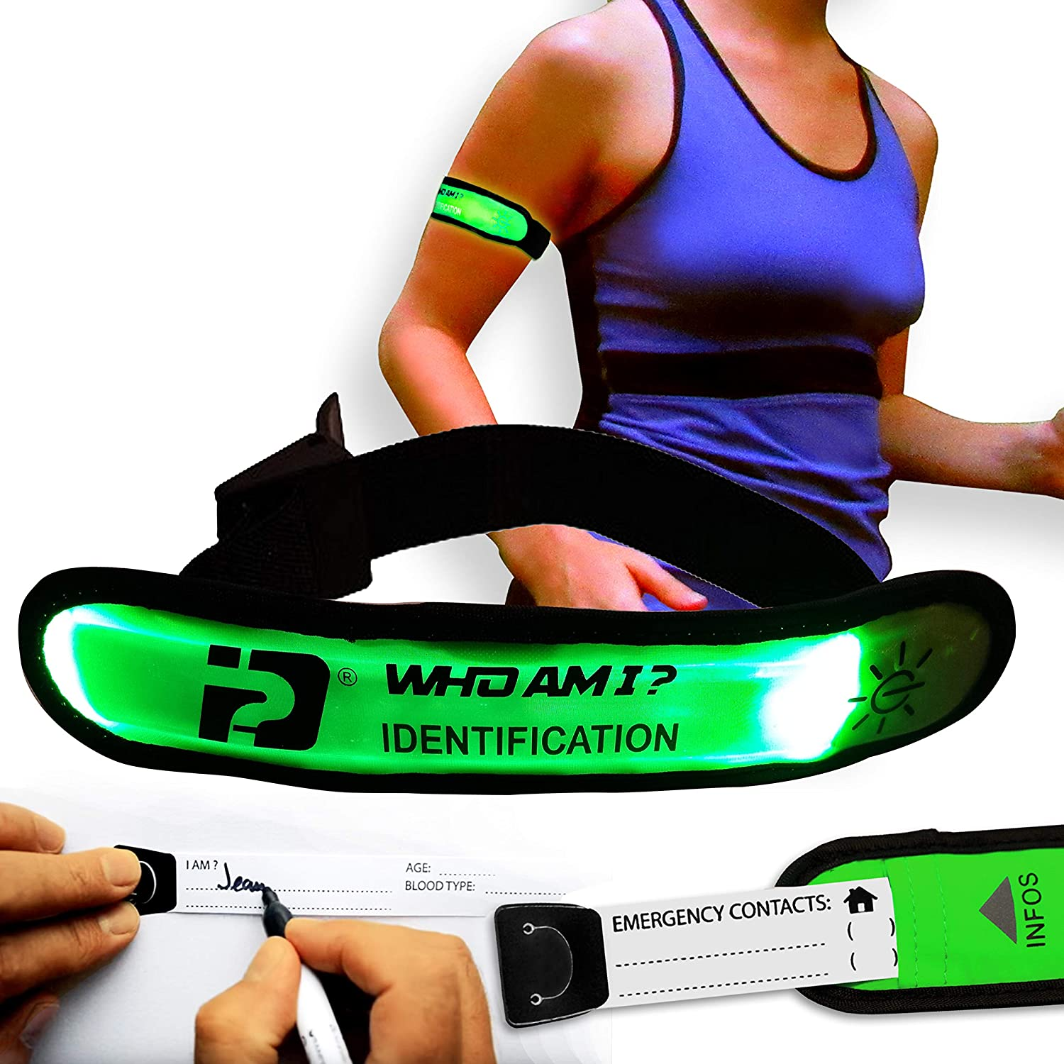 WHO AM I - LED Armband- Blink Or Glow Mode; Complete Identification,LED ID Band, Sport ID, Safety and Visibility, Night Running Gear, LED Running Armband, Travelers, Runners ID, Cycling ID Gear, GREEN