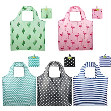 a5b5140d3 Foldable Reusable Grocery Bags Set Cute Designs Folding Shopping Tote Bag  with Pocket Pink Green Black