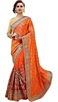 Arohi Designer Embroidered Orange Colour Silk & Georgette & Net Saree for women With Blouse Material
