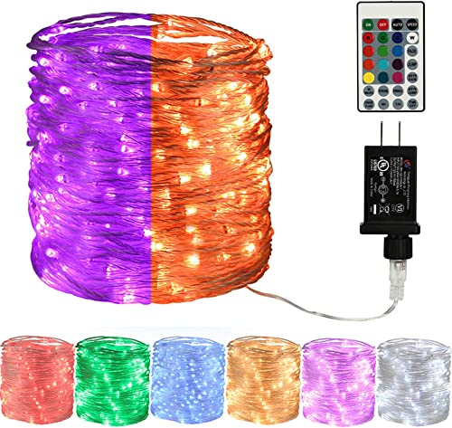 LYHOPE Orange Purple Halloween Fairy Lights, 66ft 200 LED Color Changing RGB String Lights with Remote,Twinkle Lights with 12V UL Listed Adapter for DIY Home,Valentine,Holiday,Party Decor