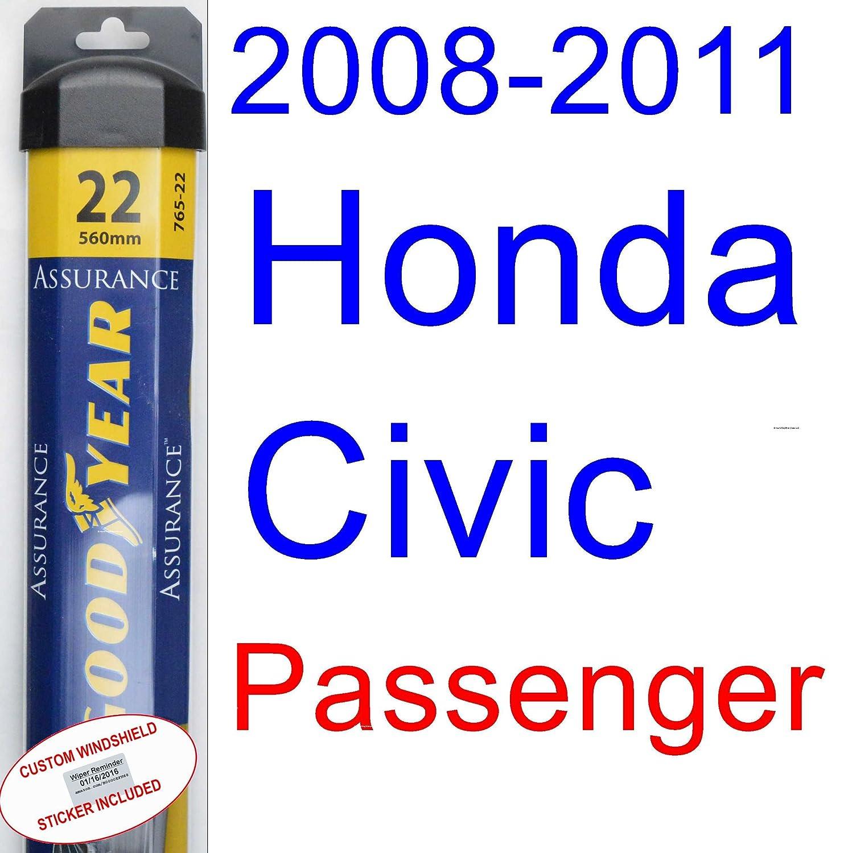 2008 - 2011 Honda Civic Coupe Repuesto limpiaparabrisas Set/Kit (Goodyear limpiaparabrisas blades-assurance) (2009,2010): Amazon.es: Coche y moto