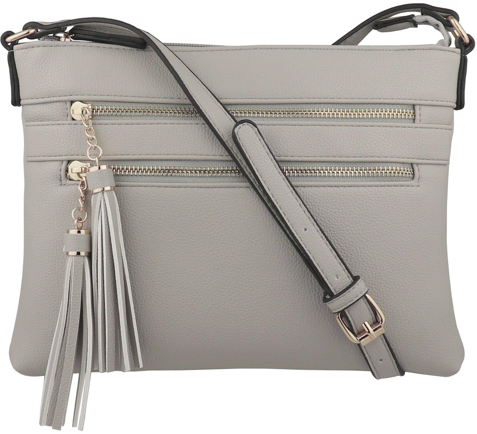 B BRENTANO Vegan Multi-Zipper Crossbody Handbag Purse with Tassel Accents (Gray(N))