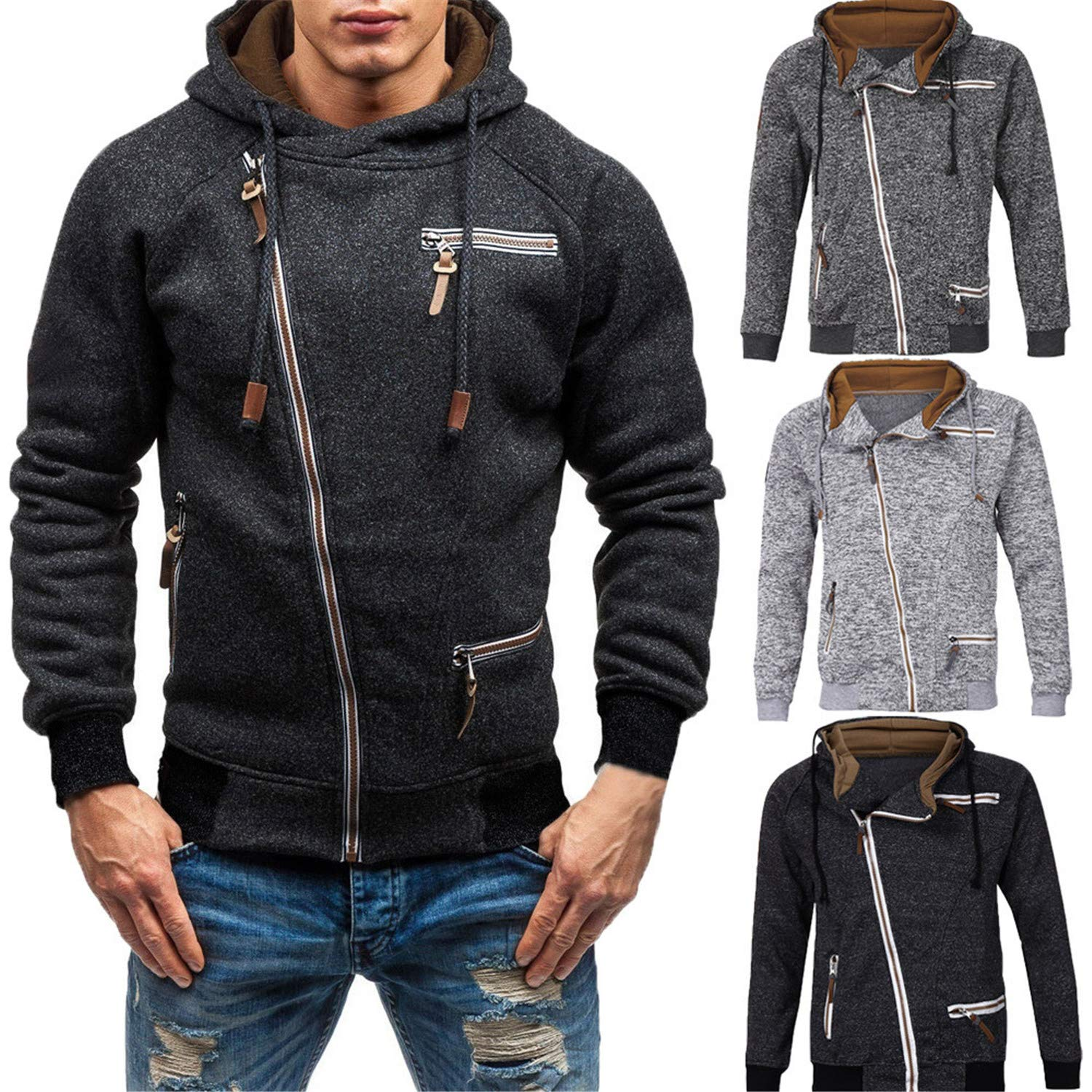 Amazon.com: Nelliewins Jacket Men Autumn Long Sleeve Zipper ...