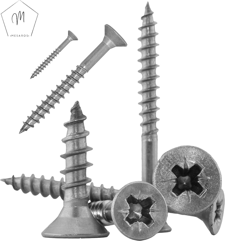 | Holzschrauben 3x25//18 mm aus Edelstahl A2 Schrauben von MESAROS/® 10 St/ück Z Spanplattenschrauben mit Senkkopf und Kreuzschlitz Universalschrauben