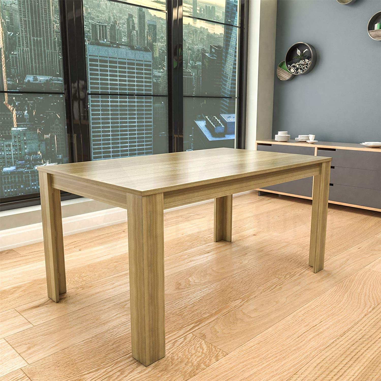 Oak 6 Seater Dining Table Vida Designs Medina 4 Seater Dining Table MDF Wood Rectangle Modern Kitchen Dining Room Furniture Unit, Walnut