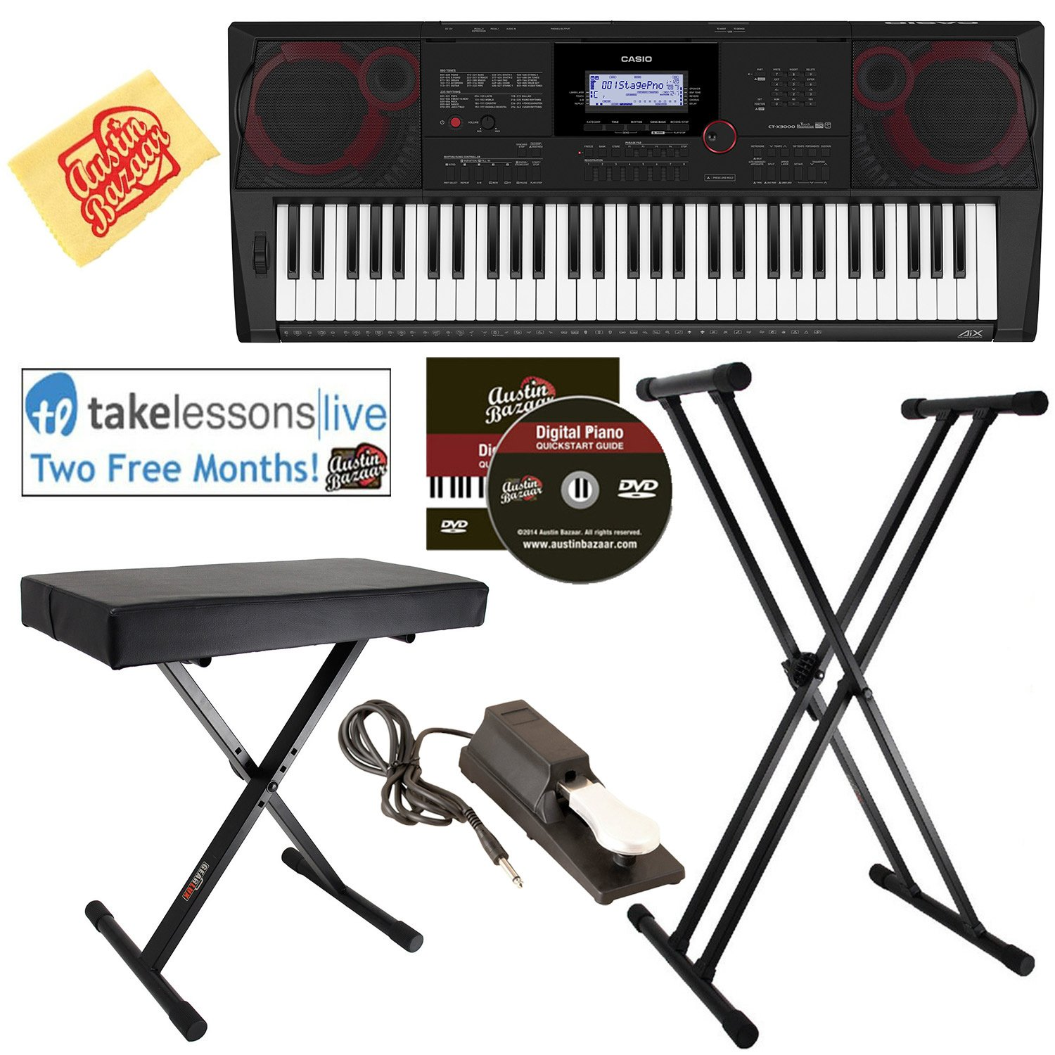 Casio CT-X3000 Keyboard Bundle with Adjustable Stand, Bench, Sustain Pedal, Online Lessons, Austin Bazaar Instructional DVD, and Polishing Cloth by Casio