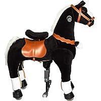 Galoppo Spielzeug Pony Pferd auf Rollen für Kinder Indoor und Outdoor geeignet zum mechanischen Reiten als Alternative zum fahrenden Schaukelpferd und Kuscheltier Geschenk - Schwarz - Medium