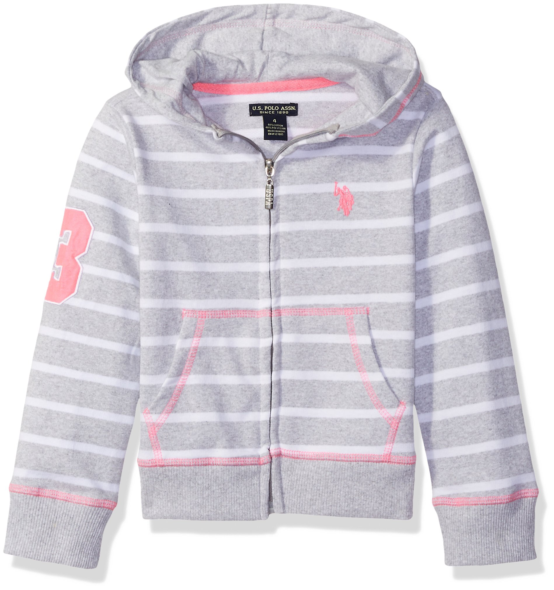 U.S. Polo Assn.. Toddler Girls' Long Sleeve French Terry Hoodie, with White Stripes Light Heather Gray, 2T