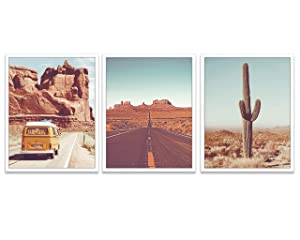 Vintage Desert Photography prints, Set of 3, UNFRAMED, Classic Van, Cactus, Route 66 Road Wall Art Decor Poster Sign, 8x10