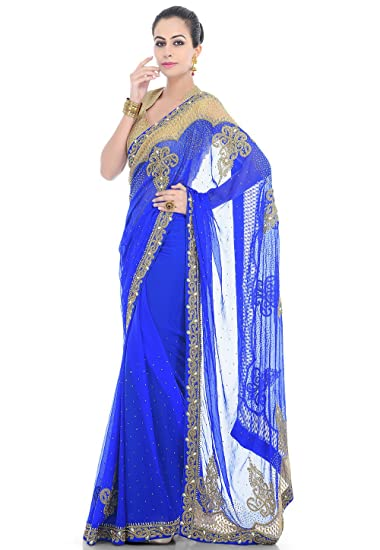 dacaf94406d0 Rupali Fashion Women's Embroidered Chiffon Saree in Royal Blue: Amazon.in:  Clothing & Accessories