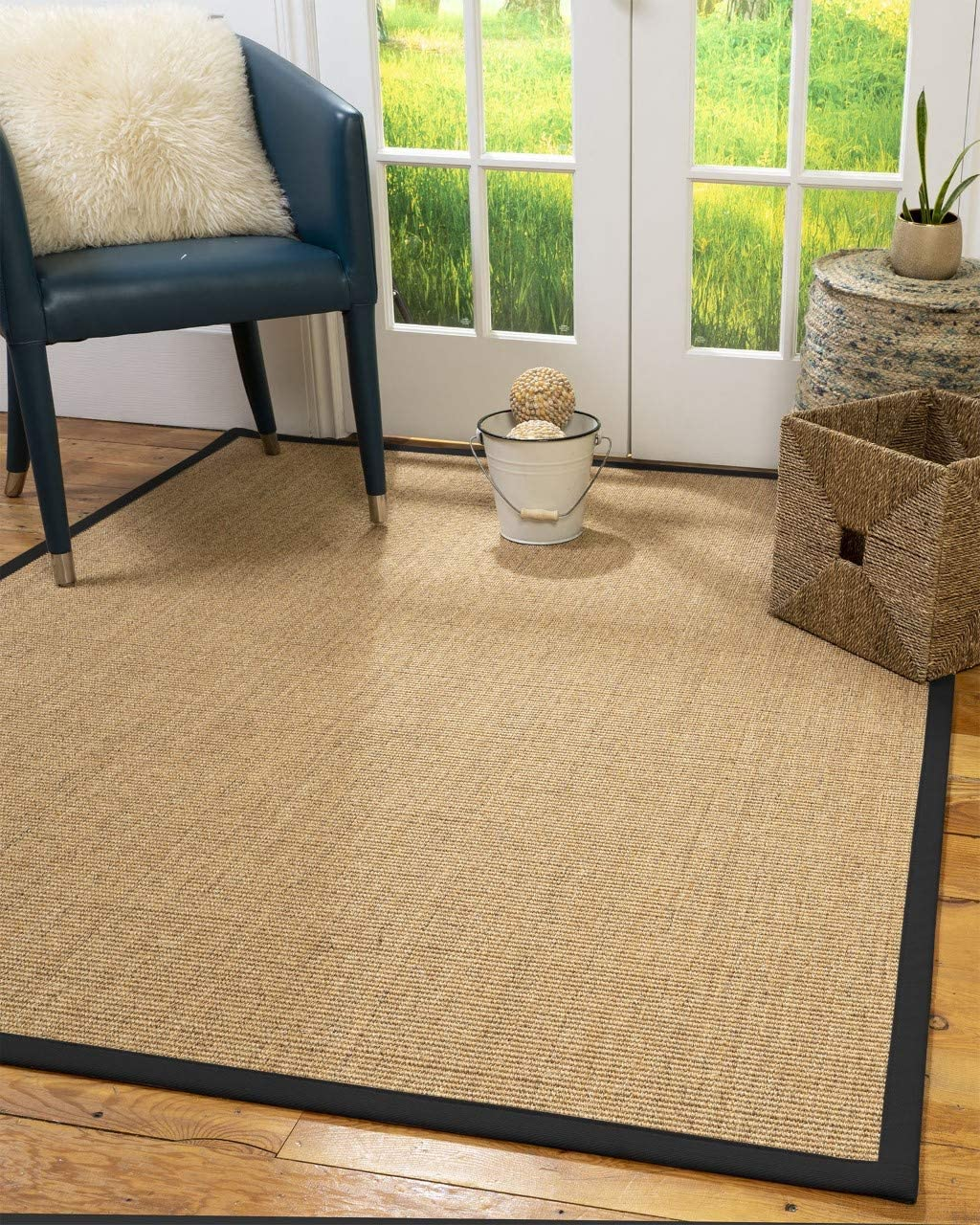 Natural Area Rugs 100 Natural Fiber Handmade Melrose, Beige Sisal Rug, 2 x 3 Black Border