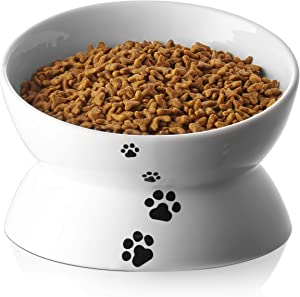 Y YHY Cat Bowl,Large Raised Cat Food Bowls Anti Vomiting, 7 Inch Tilted Elevated Cat Bowl, Ceramic Pet Food Bowl for Adult Cats and Medium Dogs,Protect Pet's Spine,Dishwasher Safe
