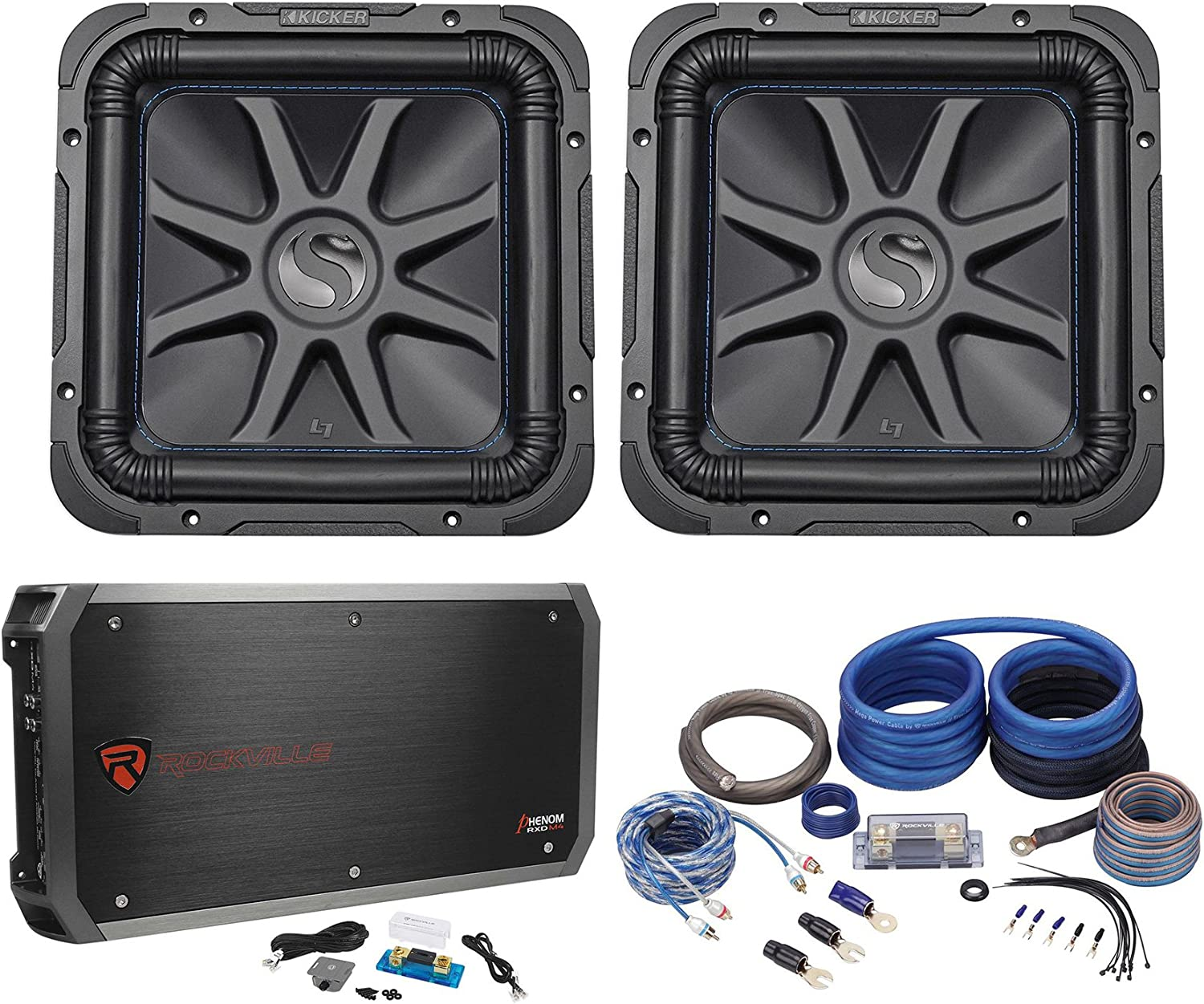 "(2) Kicker L7S124 12"" 1500W Solobaric L7S 4-Ohm Car Subs+1500W Amplifier+Amp Kit"